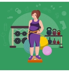 Fat woman young pretty cartoon style fitness girl vector