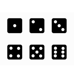 Black dice cubes icons set vector