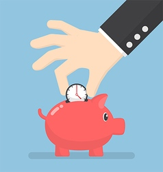 Businessman hand putting clock into piggy bank vector