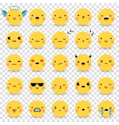 Emoticons transparent set vector