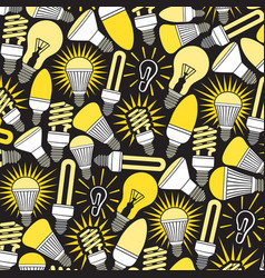 background pattern with light bulbs icons vector image vector image
