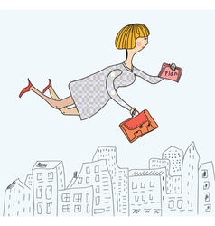 Business woman flying to work cartoon vector image