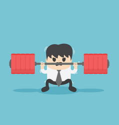 businessman cannot weightlifting vector image