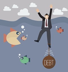 Businessman get drowned because debt weigh vector