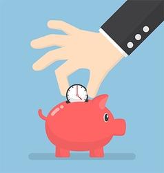 Businessman hand putting clock into piggy bank vector