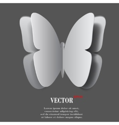 butterfly Flat modern web button with long shadow vector image