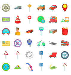 City traffic icons set cartoon style vector