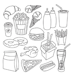Doodle fast food vector image vector image