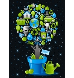 Ecological design with ecology nature symbols icon vector image