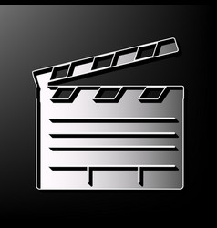 Film clap board cinema sign gray 3d vector