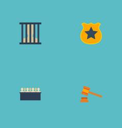 Flat icons officer emblem judge gavel jury and vector