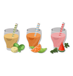 fresh smoothies drinks cocktails banana orange vector image