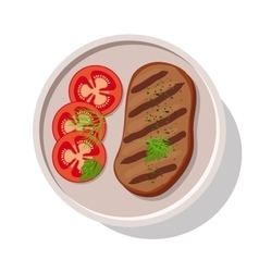Grilled meat steak with tomatoes vector image