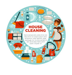 house cleaning poster of housewife housemaid and vector image