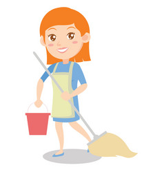 Housewife cleaning house of character vector