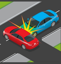 isometric traffic accident involving two vehicles vector image vector image