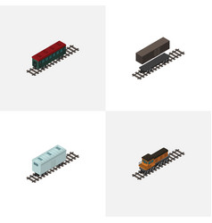 Isometric train set of railroad carriage delivery vector