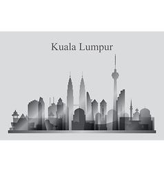 Kuala Lumpur city skyline silhouette in grayscale vector image