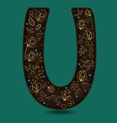 Letter u with golden floral decor vector