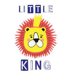 little king slogan with lion face crown vector image