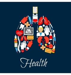 Lungs made of medicine or medical icons vector