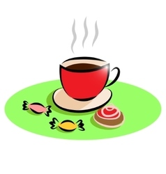 Morning cup of tea and cake sweets vector