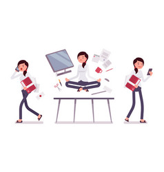 office scene with busy and relaxed in yoga female vector image vector image