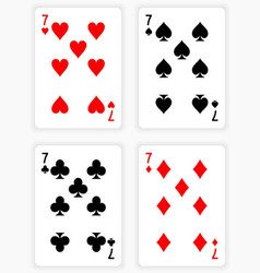Playing cards showing sevens from each suit vector