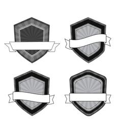 retro black and white shields vector image