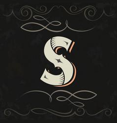 Retro style western letter design letter s vector