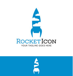 Rocket and clouds logfor start up or tech business vector