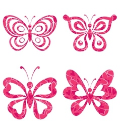 Set butterflies with pattern vector image vector image