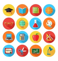 Set of flat school and education icons set vector image vector image