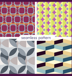 Set of four seamless geometrical patterns 11 vector