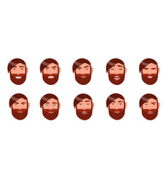 set of man s emotions bearded guy face cartoon vector image