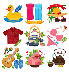 set of of summer vacation resort sale of summer vector image vector image