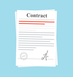 signed paper deal contract icon agreement vector image vector image