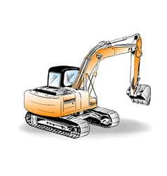 sketch of excavator on the white vector image vector image
