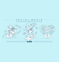 social media blue linear vector image vector image