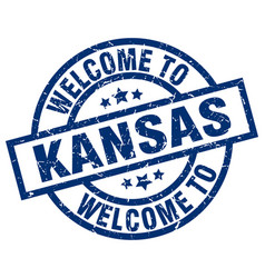 welcome to kansas blue stamp vector image vector image