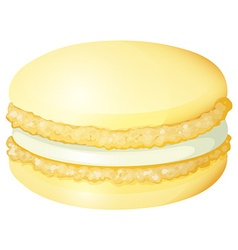 Yellow macaron with cream vector