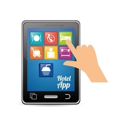 Smartphone and hotel digital apps design vector