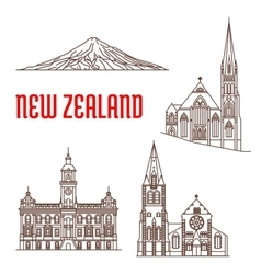 Travel landmarks of new zealand thin line icon vector