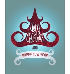 Calligraphic vintage grunge christmas card design vector