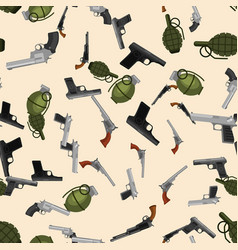 Military gun seamless pattern automatic and hand vector