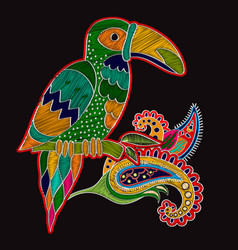 Embroidery oriental print with big bird vector