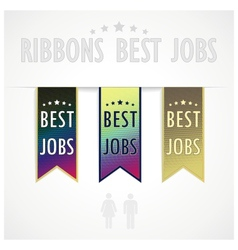 Set ribbons best jobs vector