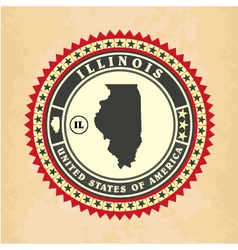 Vintage label-sticker cards of illinois vector