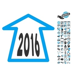 2016 Ahead Arrow Flat Icon With Bonus vector image