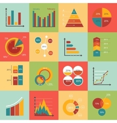 Set of business data market elements diagrams vector
